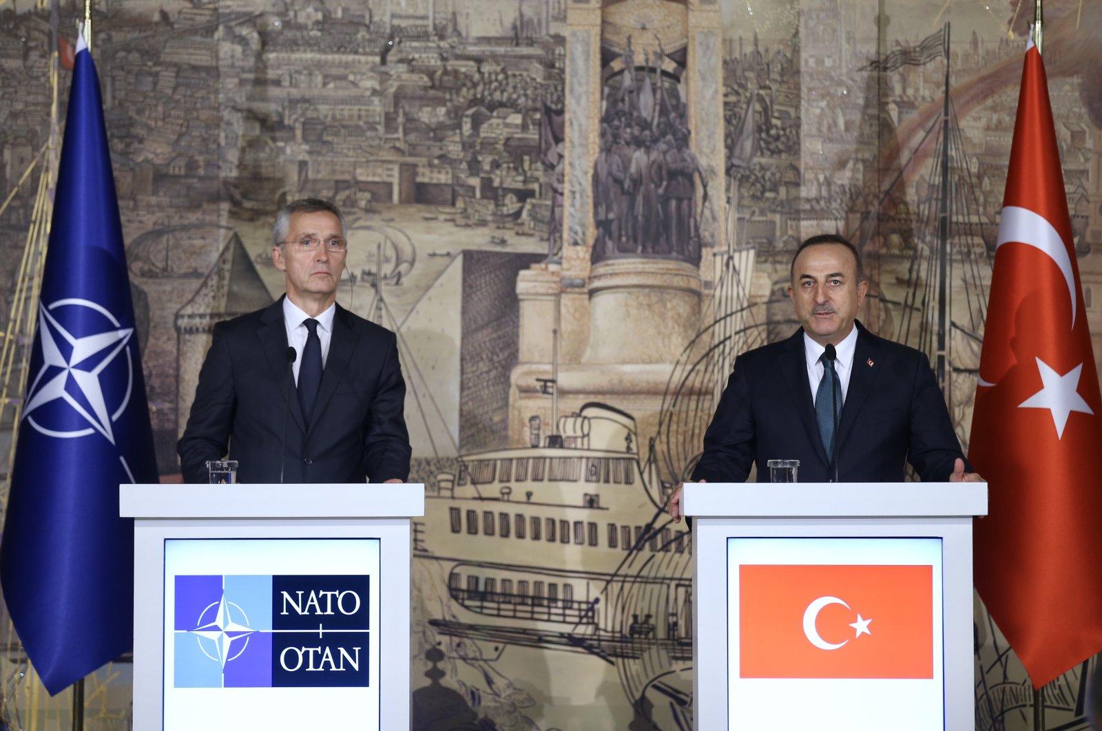 Turkey's Foreign Minister Mevlüt Çavuşoğlu and NATO Secretary-General Jens Stoltenberg in Dolmabahce Palace, Istanbul, Oct. 14, 2019. (AA Photo)