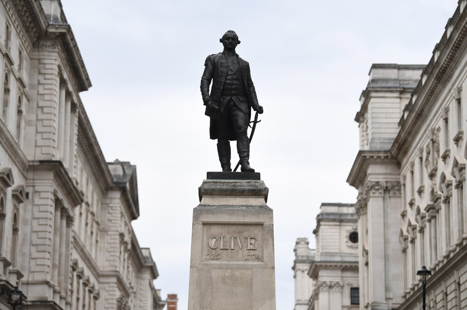 A statue of Robert Clive is displayed in Whitehall in London, Britain, on 10 June 2020. Clive was the Governor of Bengal and helped the British Empire gain control of large areas of India. (EPA Photo)