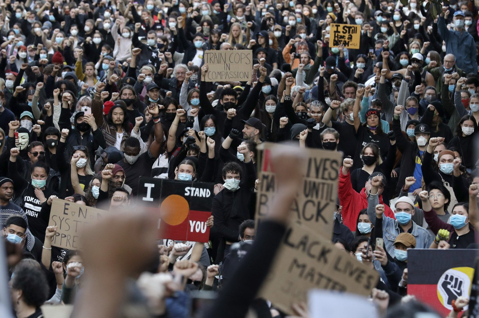 Protesters gather in Sydney, Saturday, June 6, 2020, to support the cause of U.S. protests over the death of George Floyd. (AP Photo)