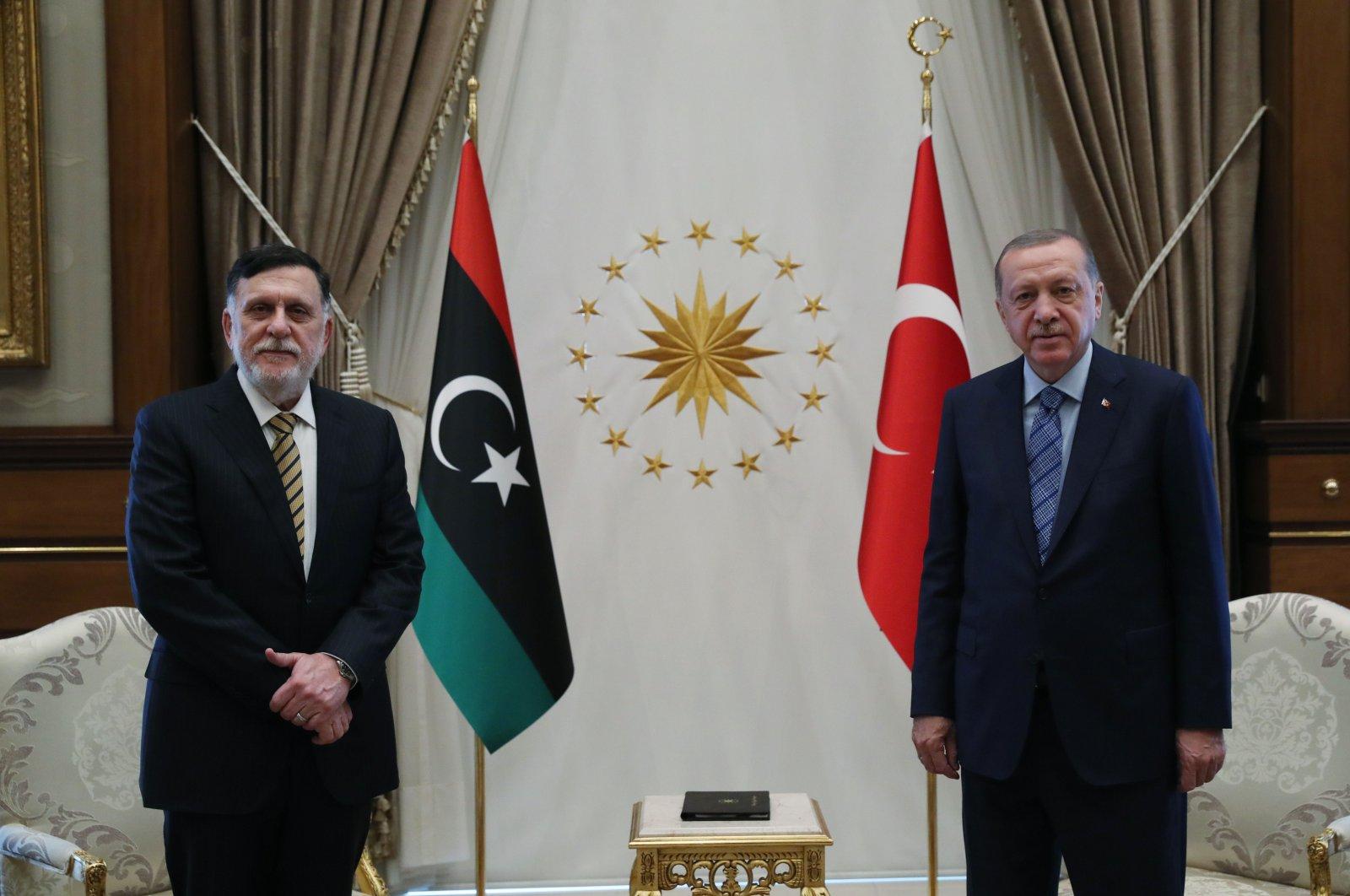 President Recep Tayyip Erdoğan meets with Libyan Prime Minister Fayez Sarraj at the Presidential Complex in Ankara, Turkey, June 4, 2020. (AFP Photo)