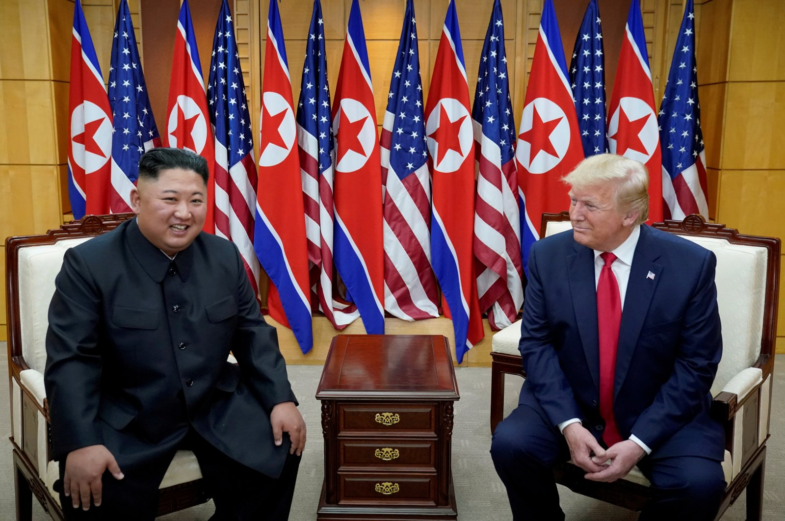 U.S. President Donald Trump meets with North Korean leader Kim Jong Un at the demilitarized zone separating the two Koreas, Panmunjom, June 30, 2019. (REUTERS Photo)
