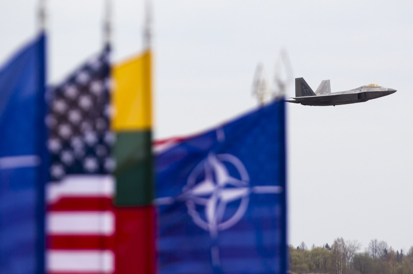 U.S. Air Force F-22 Raptor fighter jet lands at the Siauliai air base, some 230 kilometers (144 miles) east of the capital Vilnius, Lithuania, April 27, 2016. (AP Photo)