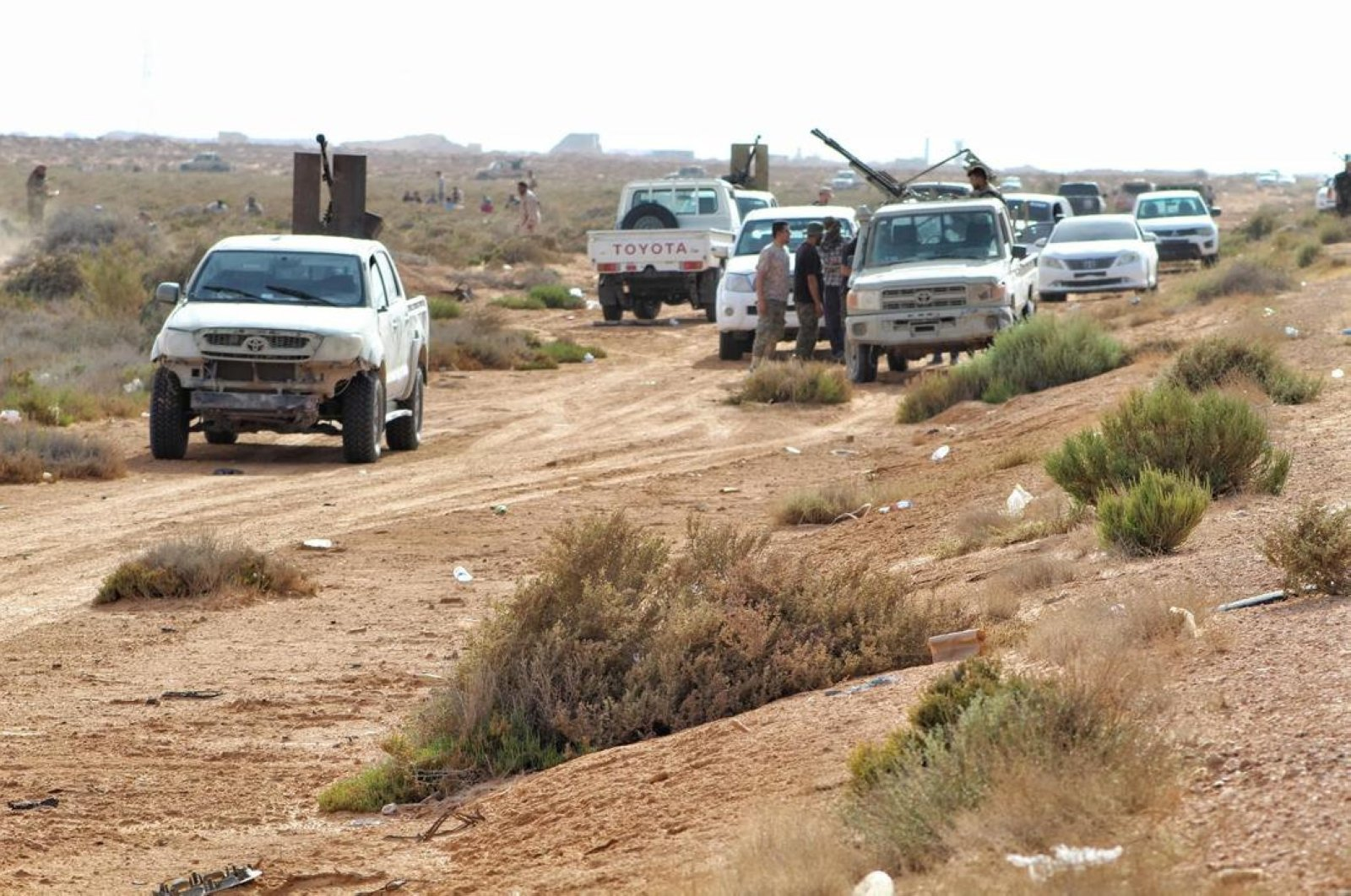 Vehicles belonging to the Libyan Army are seen in the countryside of the coastal city of Sirte during their operation to liberate the city from forces of eastern-Libya based Khalifa Haftar, on June 09, 2020. (DHA Photo)
