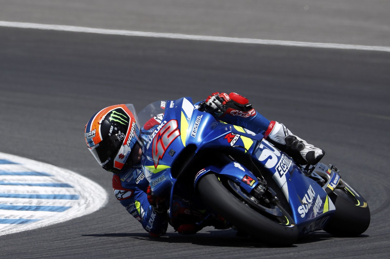 MotoGP rider Alex Rins of Spain takes a curve during the Spanish Motorcycle Grand Prix at the Angel Nieto racetrack in Jerez de la Frontera, Spain, May 5, 2019. (AP Photo)