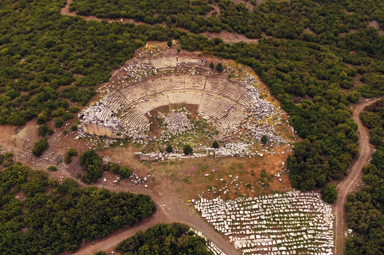 An aerial view of Kibyra's theater, which has a capacity of 10,400 people, in the Golhisar district of Burdur province, Turkey. (AA Photo)