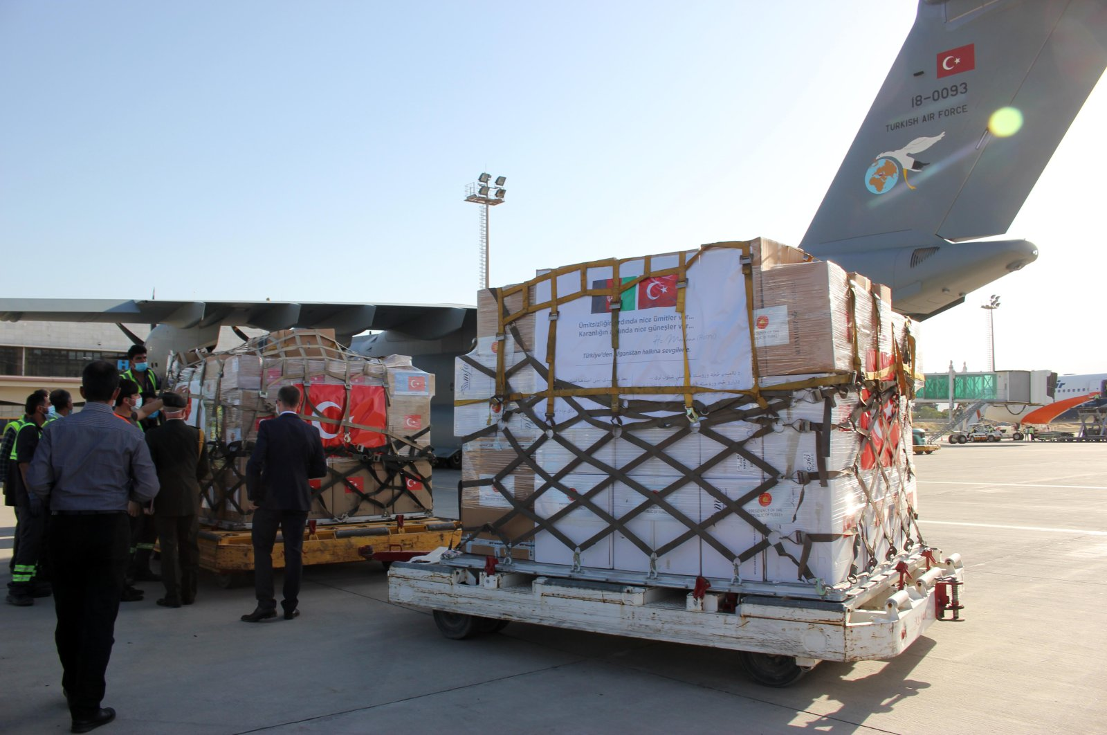 A Turkish shipment carrying medical aid against COVID-19 pandemic reaches Kabul, June 11, 2020. (AA)