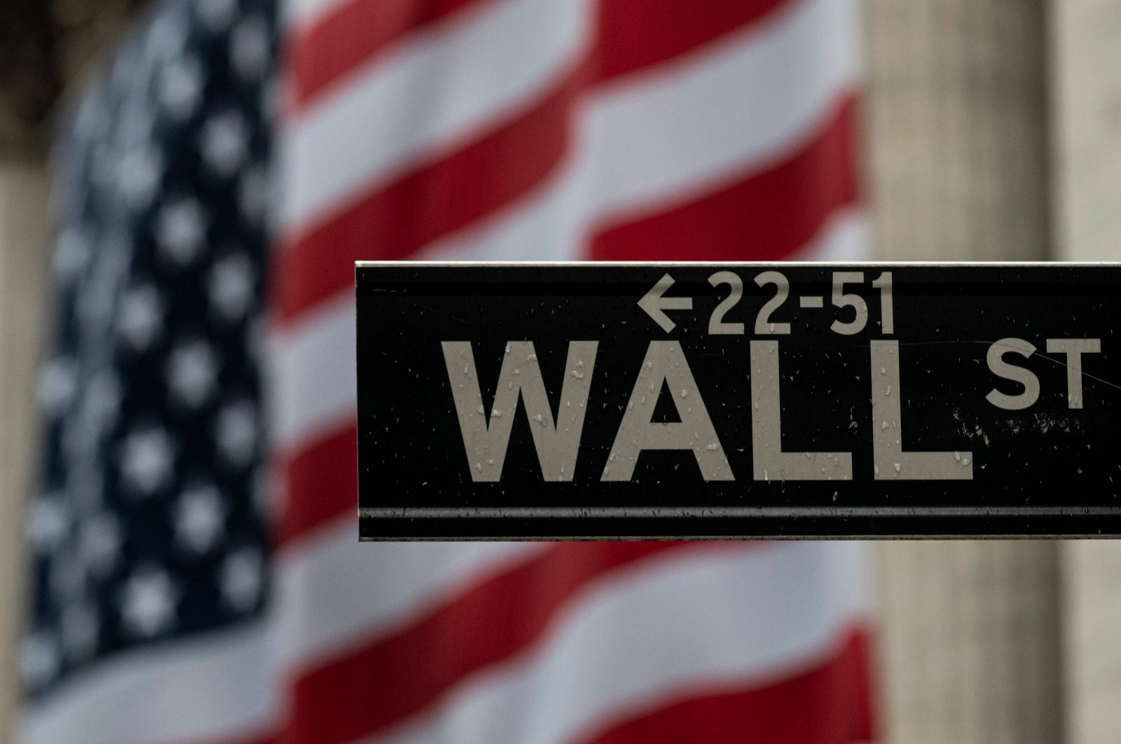 The U.S. flag is seen at the New York Stock Exchange (NYSE) in New York City, April 30, 2020. (AFP Photo)