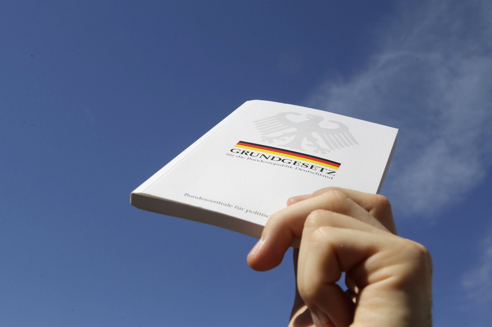 "A demonstrator holds a copy of the German constitution ""Grundgesetz"" during a protest rally against internet surveillance in Berlin Sept. 7, 2013. (Reuters Photo)"