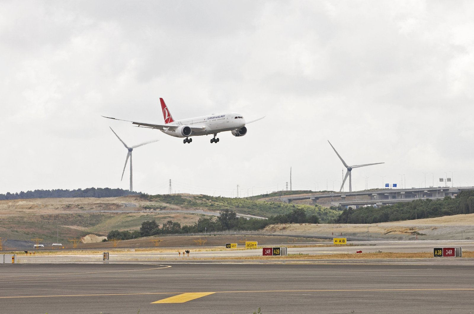 A Turkish Airlines aircraft is seen landing at Istanbul Airport.