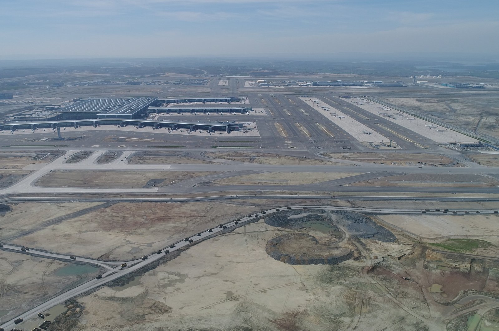 An aerial view of Istanbul Airport and its third runway, which is set to open on June 14, 2020. (Photo courtesy of IGA)