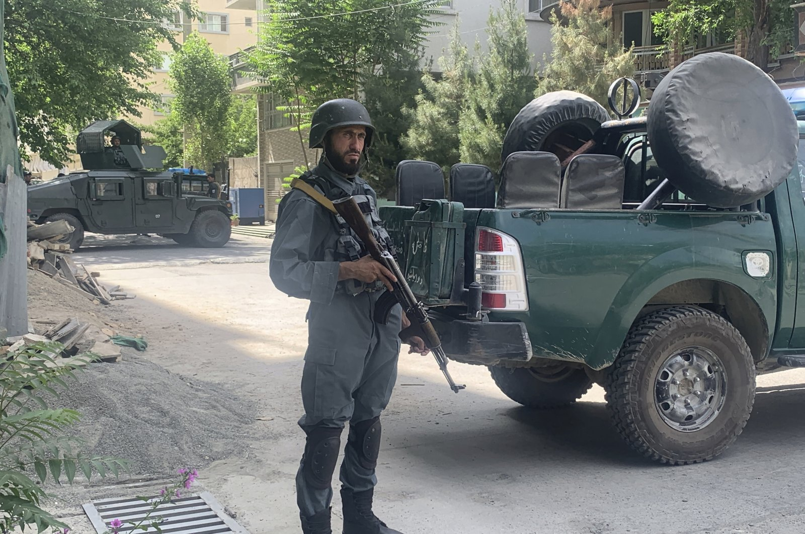 Afghan police arrive at the site of an explosion at a mosque, Friday, June 12, 2020, in Kabul, Afghanistan.(AP Photo)