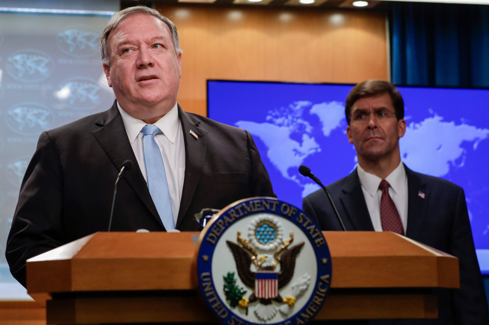 U.S. Secretary of State Mike Pompeo (L) holds a joint news conference on the International Criminal Court with U.S. Defense Secretary Mark Esper (R), at the State Department, Washington, D.C., June 11, 2020. (AFP Photo)