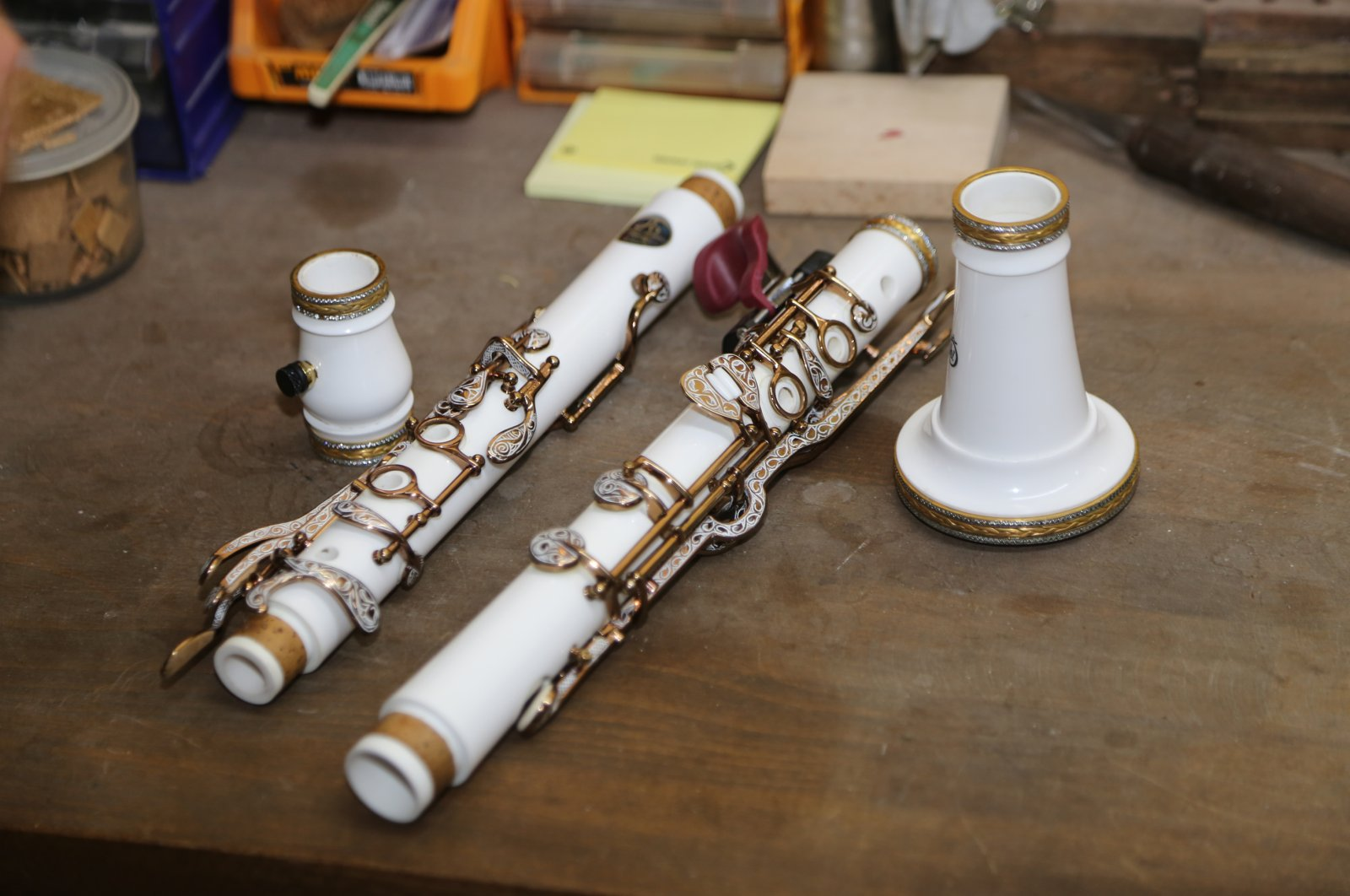 Stone clarinets are produced in the Özdemir brothers' workshop, Ordu, Tukey, June 12, 2020. (AA Photo)