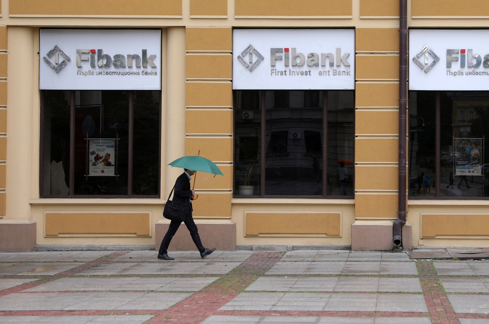 A man walks in front of an office of the First Investment Bank (Fibank) in Sofia, Bulgaria, June 12, 2020. (Reuters Photo)