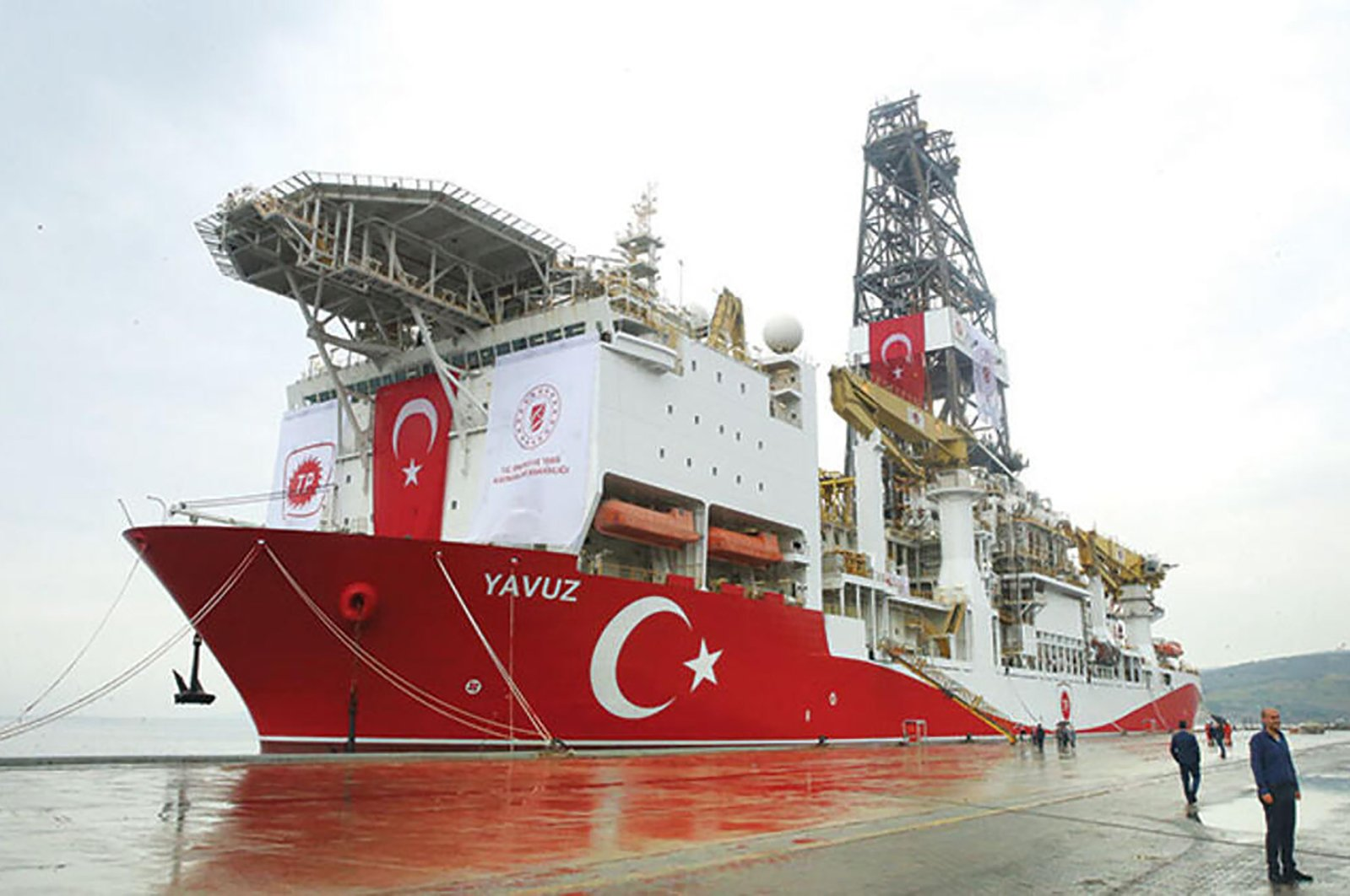 Yavuz drillship is one of the two drilling vessels of Turkey in the Eastern Mediterranean, asserting the rights of the country and the Northern Cyprus over the resources of the region. (SABAH)
