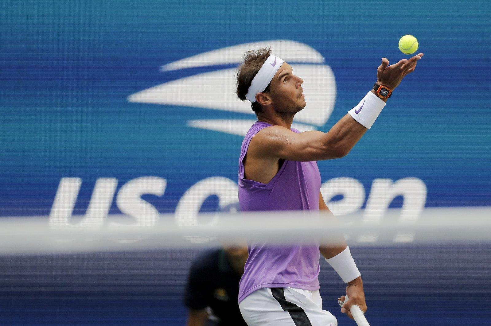 Rafael Nadal serves to Hyeon Chung during the U.S. Open tennis championships, New York, U.S., Aug. 31, 2019. (AP Photo)