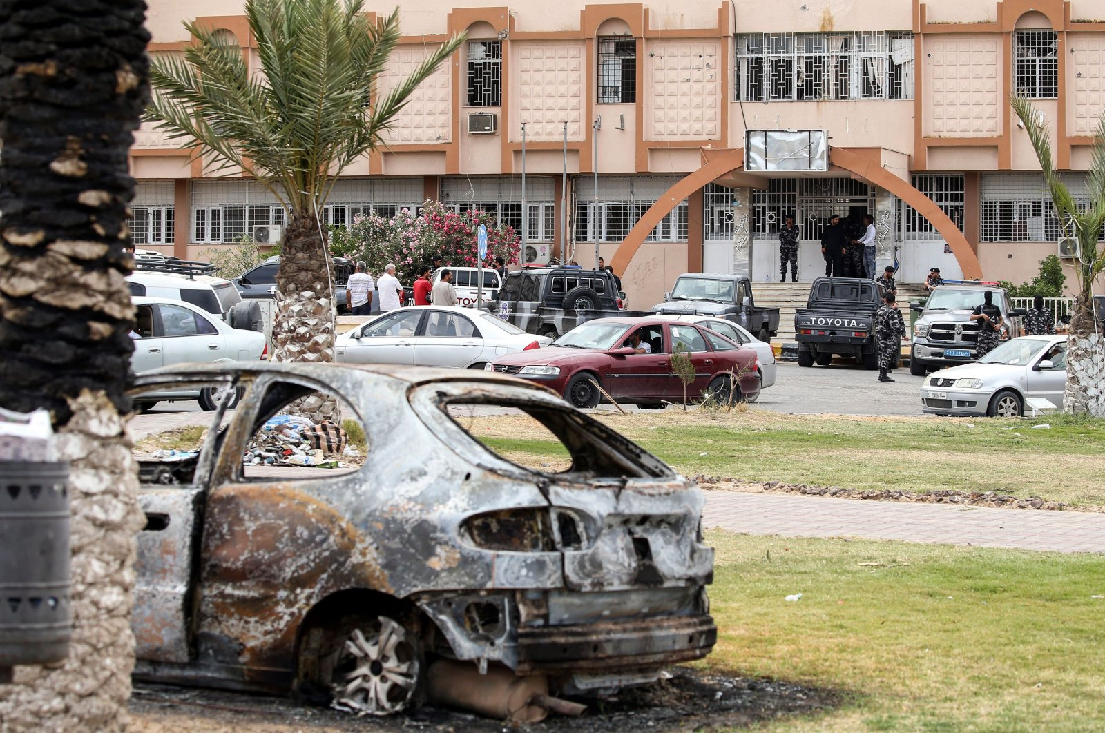 A view of the exterior of a local security precincet that was taken over by security forces affiliated with the Libyan Government of National Accord (GNA)'s Interior Ministry in the town of Tarhuna, June 11, 2020. (AFP)