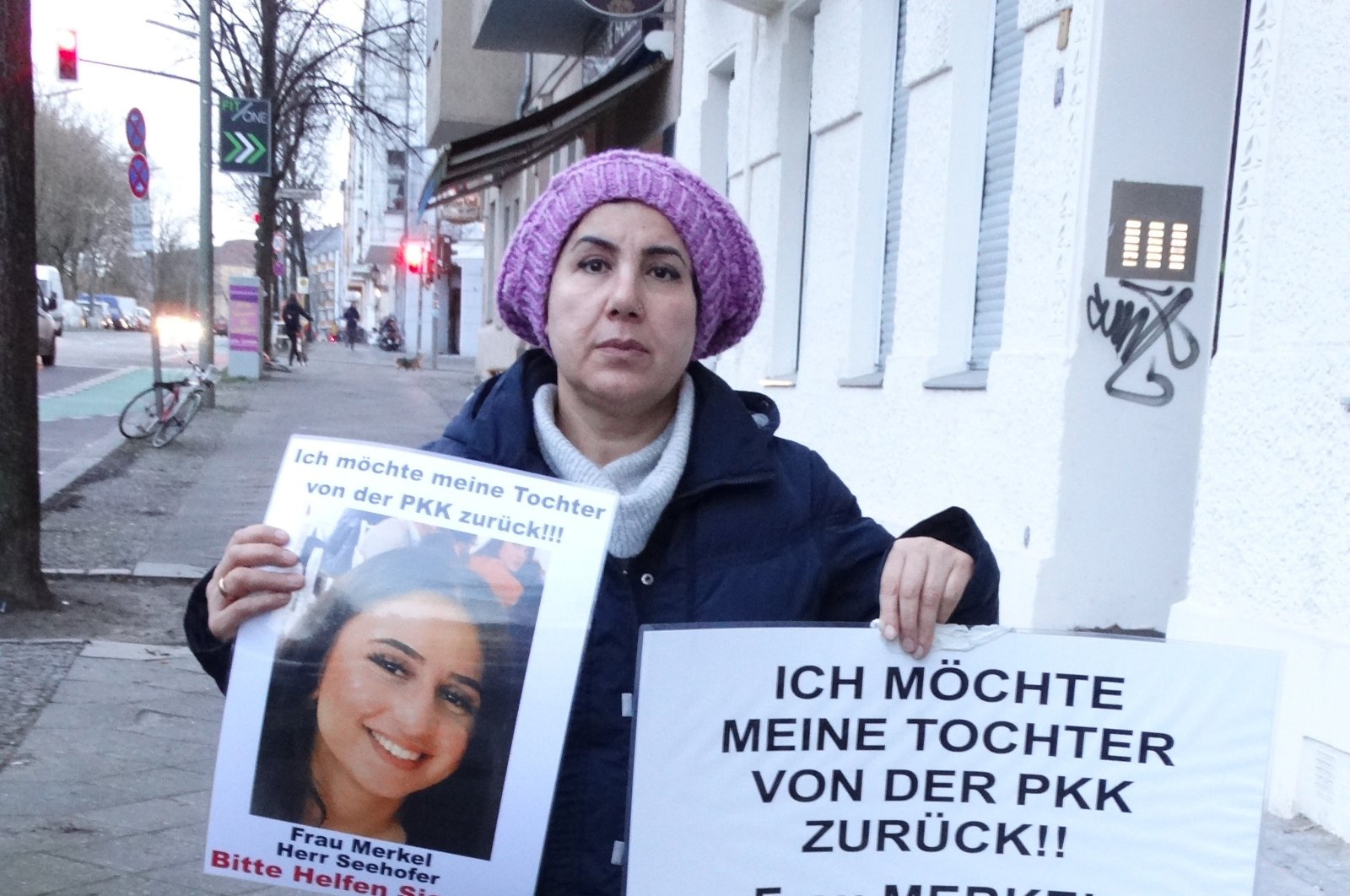 Maide T. stages a protest outside the German Chancellery, demanding the return of her daughter who was forcibly recruited by PKK terrorists, Berlin, June 14, 2020. (DHA)