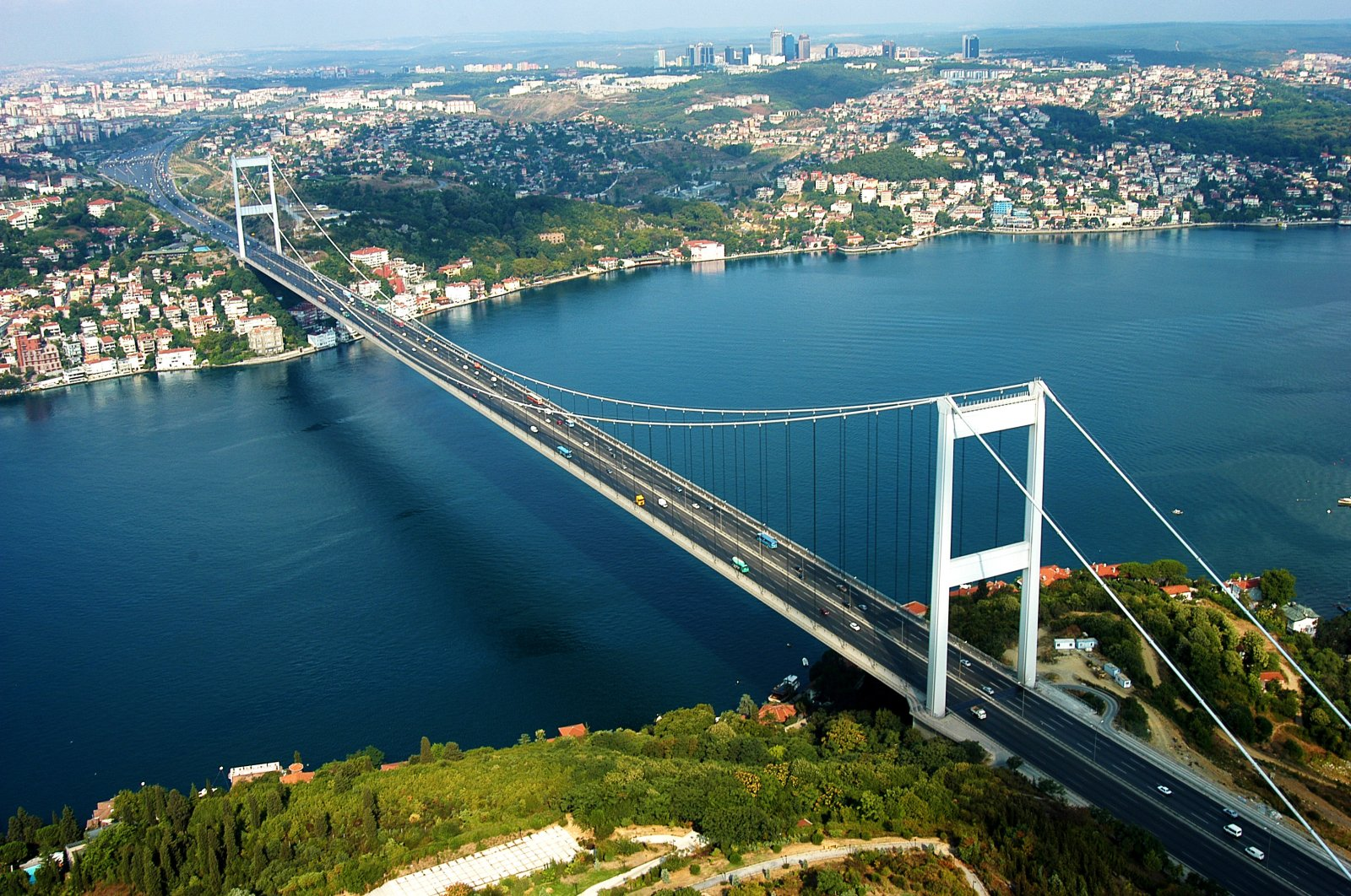 An aerial view of Bosphorus Bridge, recently named as the July 15 Martyrs Bridge, Istanbul. (iStock Photo)