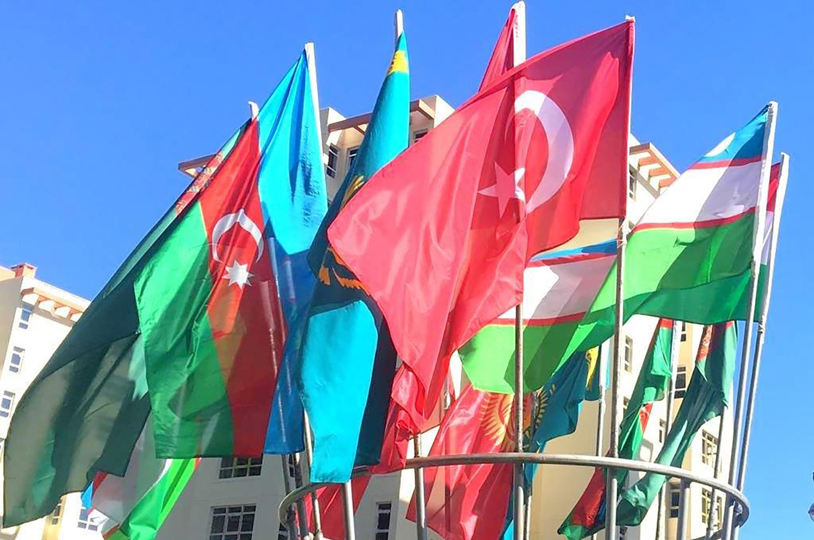 Flags of the countries participated in a Turkic Council meeting seen in Baku, Azerbaijan in this undated file photo.