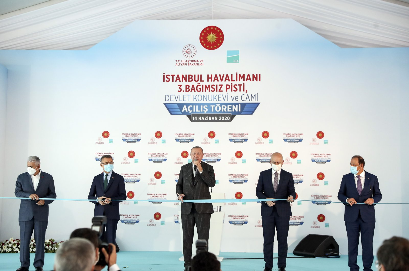 President Recep Tayyip Erdoğan attends inauguration ceremony of the third runway of Istanbul Airport on Sunday, June 14, 2020 (AA Photo)