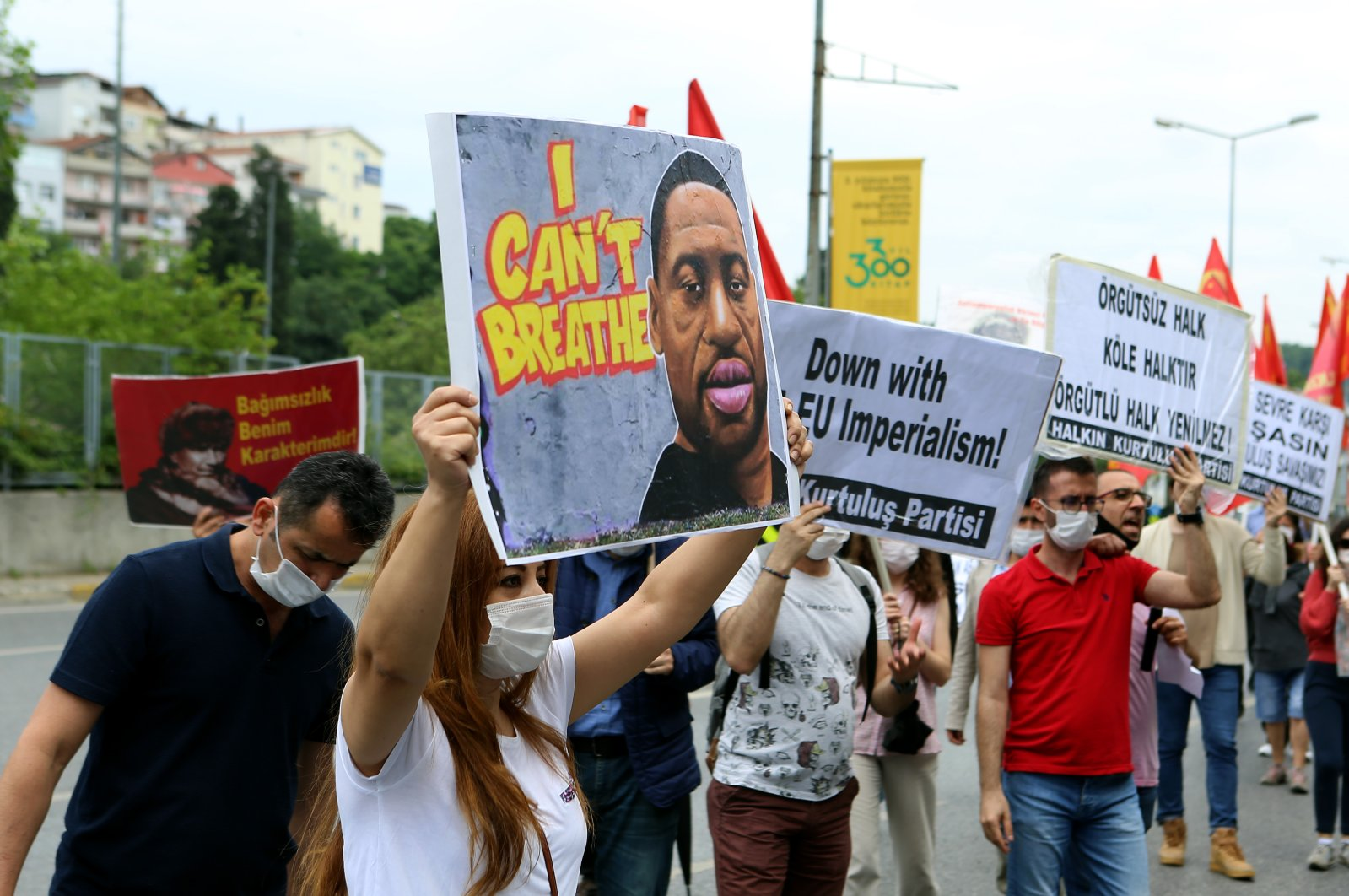 Protesters decry the killing of George Floyd outside the U.S. Consulate General in Istanbul, Turkey, June 14, 2020. (AA Photo)