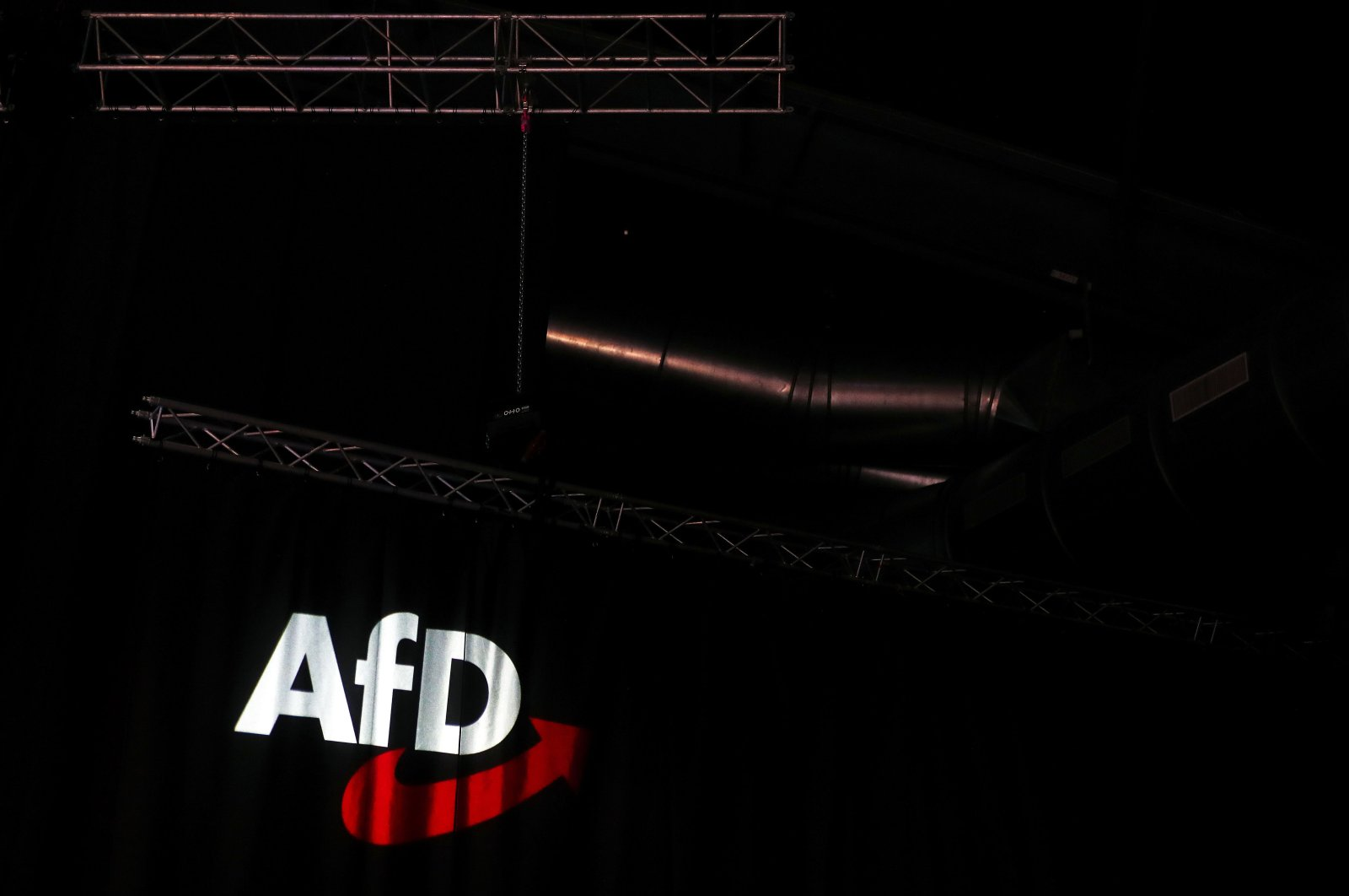 This Nov. 30, 2019, file photo shows the logo of the Alternative for Germany (AfD) far-right party during its congress in Braunschweig, Germany. (AFP Photo)