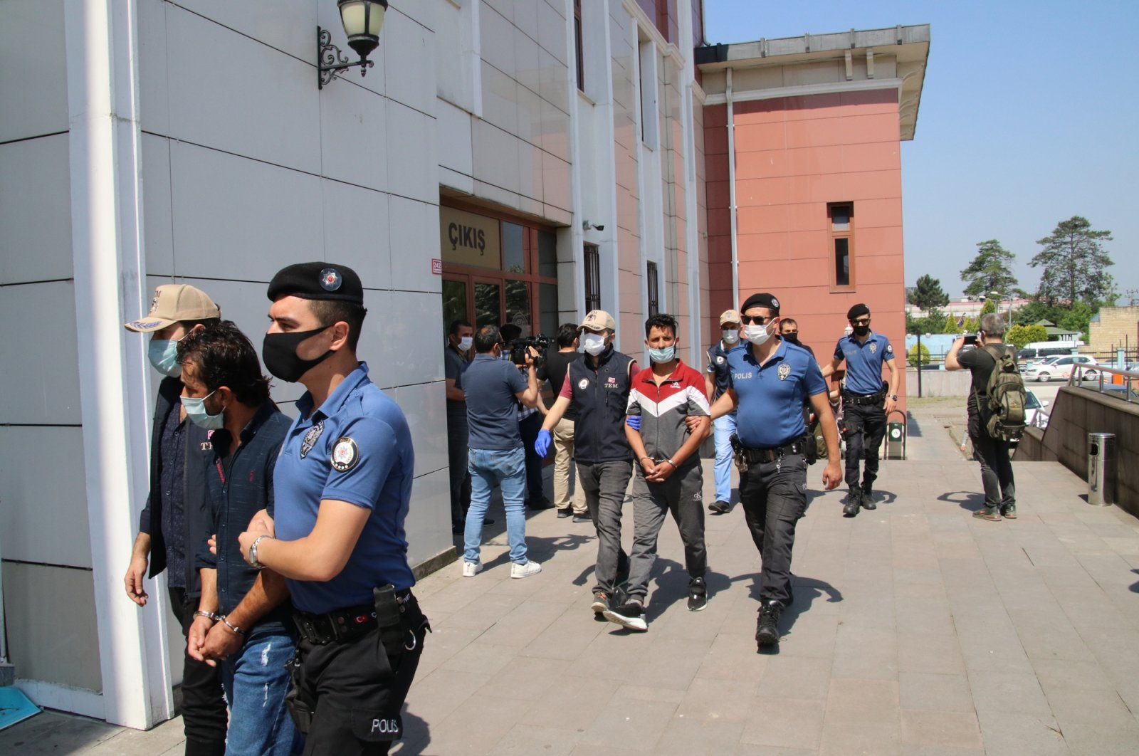 In this June 9, 2020, file photo police bring Daesh-linked terrorist suspects to a police station in northern Turkey's Düzce. (DHA File Photo)