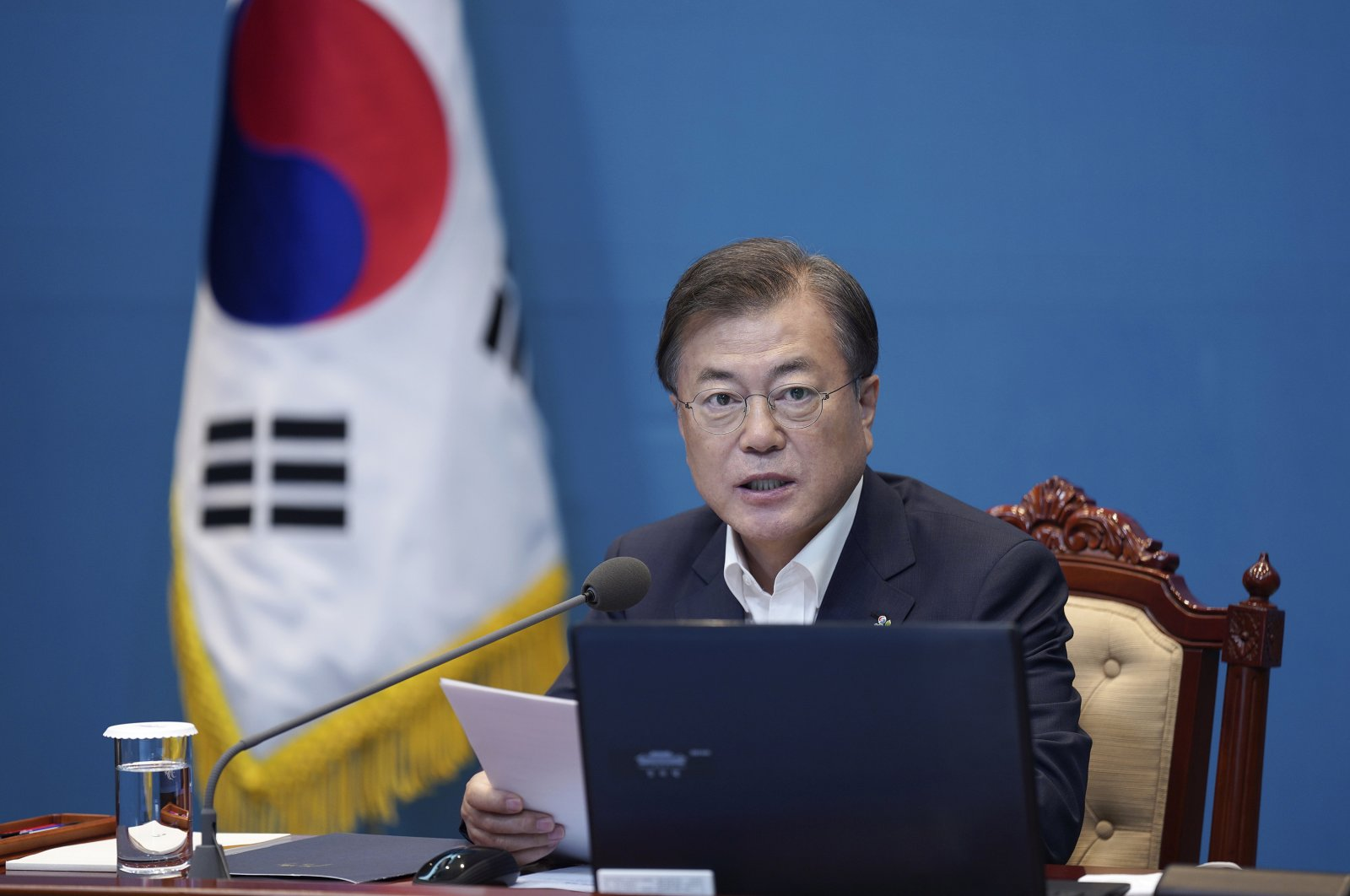 South Korean President Moon Jae-in speaks during a meeting with top presidential advisers at the presidential Blue House in Seoul, South Korea, Monday, June 15, 2020. (AP Photo)