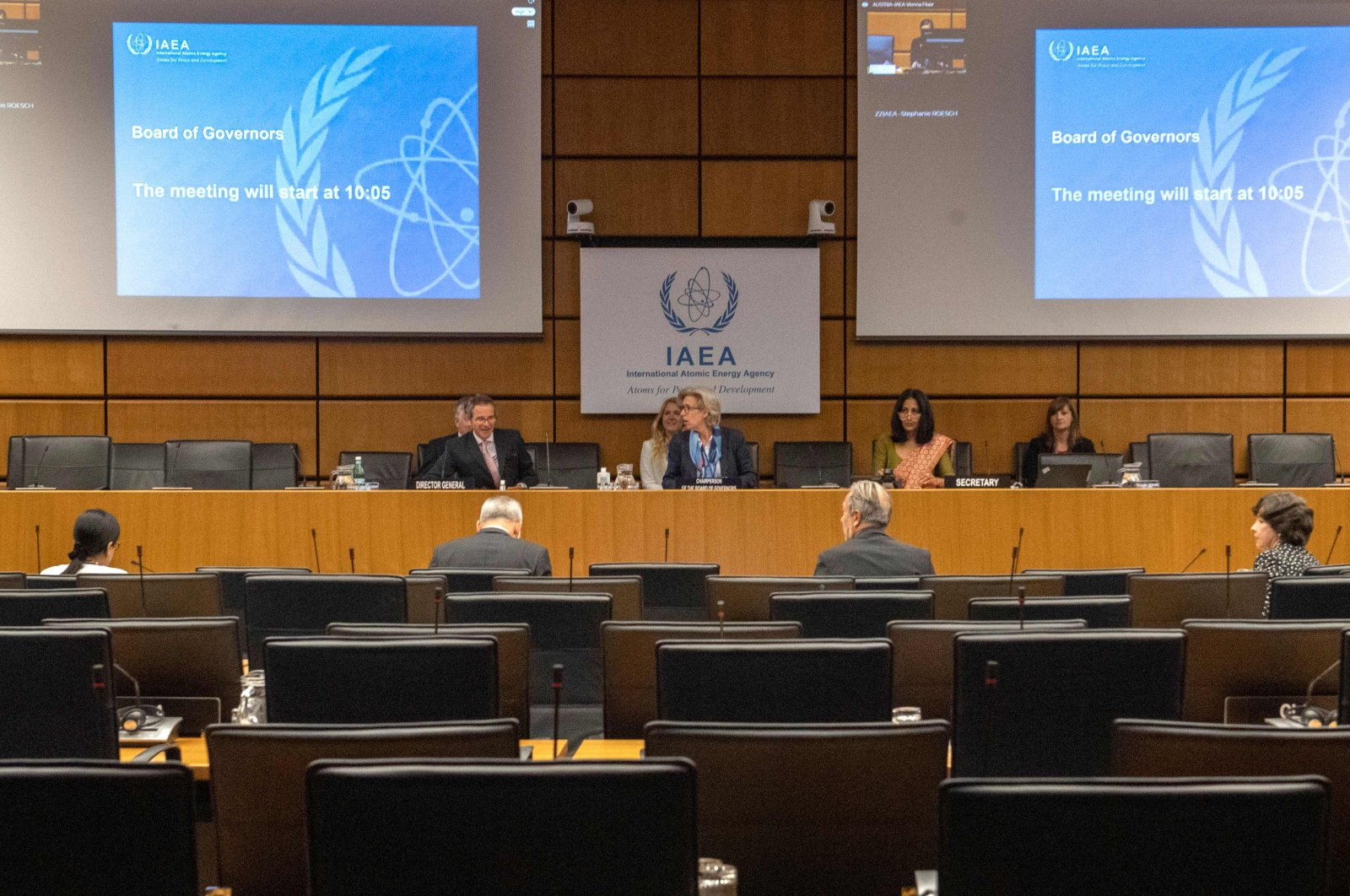 Rafael Grossi (L), director-general of the International Atomic Energy Agency (IAEA), opens a virtual meeting of the Board of Governors of the IAEA, due to coronavirus safety-related measures, at the agency's headquarters in Vienna, Austria, June 15, 2020. (AFP Photo)