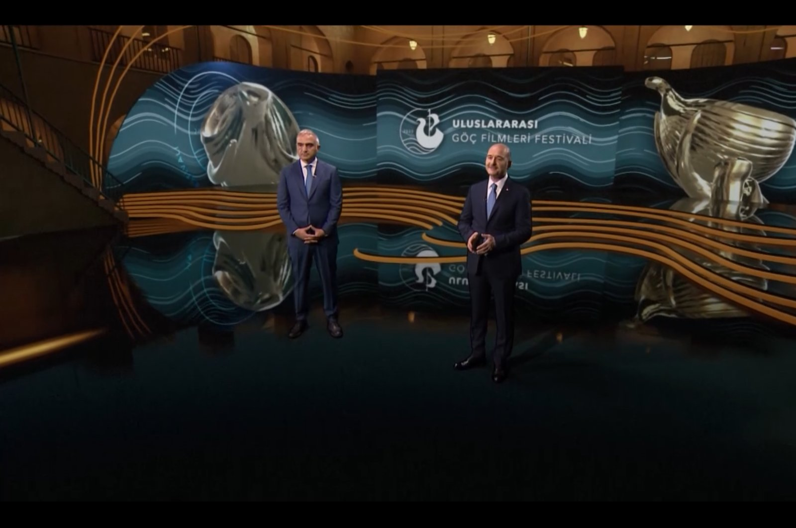Still shot from the opening ceremony featuring Interior Minister Süleyman Soylu (R) and Culture and Tourism Minister Mehmet Nuri Ersoy.