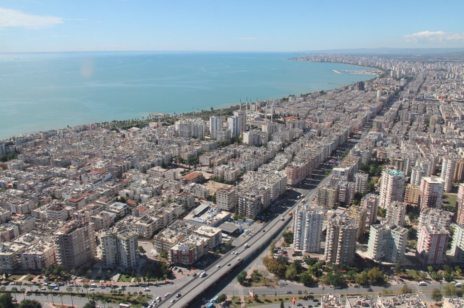 An aerial shot of the residential coastal area of Mersin province in southern Turkey, June 15, 2020. (IHA Photo)