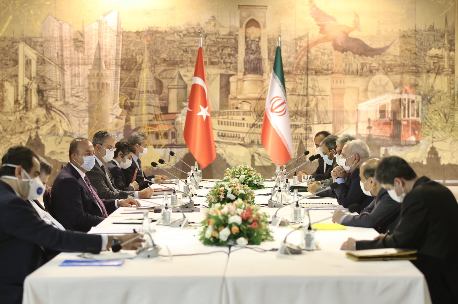 Turkish and Iranian Foreign Ministry officials hold meeting at the Dolmabahçe Working Office in Istanbul on Monday, June 15, 2020 (AA Photo)