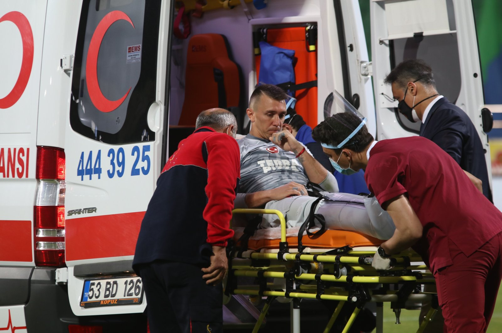 Galatasaray legend Fernando Muslera being taken to the hospital after fracturing his right tibia and fibula, Rize, Turkey, June 14, 2020. (IHA Photo)