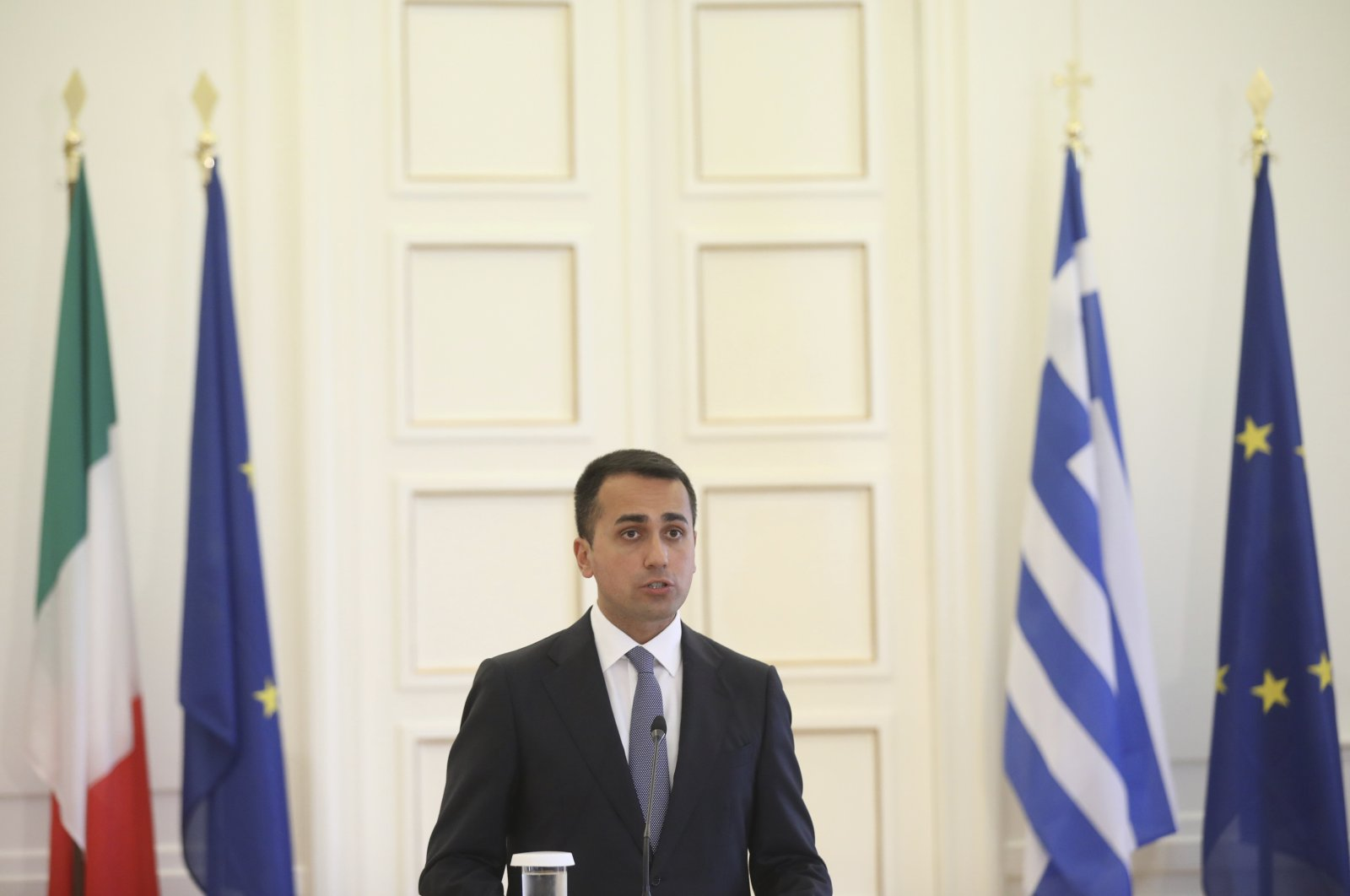 Italian Foreign Minister Luigi Di Maio speaks during a news conference and after his meeting with his Greek counterpart Nikos Dendias in Athens, June 9, 2020. (AP Photo)