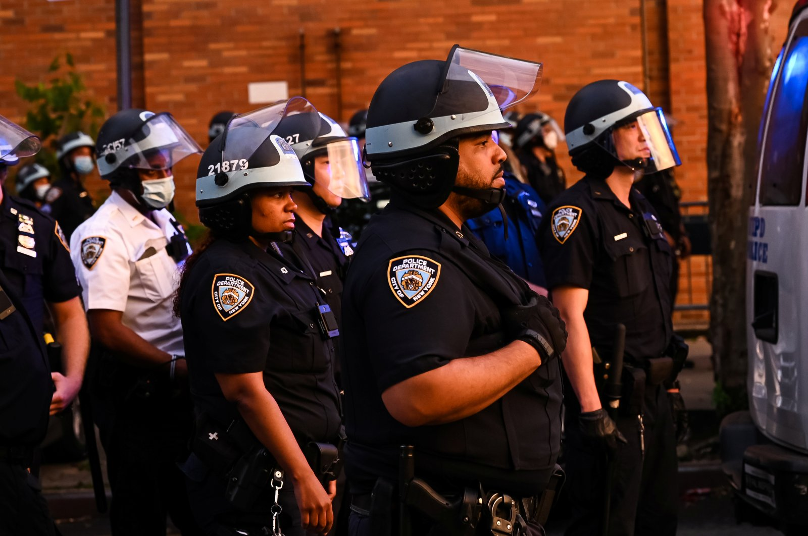 The NYPD watches as demonstrators protest against racial inequality in the aftermath of the death in Minneapolis police custody of George Floyd, in New York City, New York, U.S. June 11, 2020. (Reuters Photo)