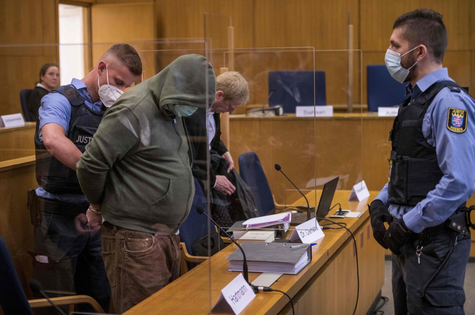 Markus H., who is accused of aiding and abetting in murdering politician Walter Luebcke, arrives for the first day of his trial at the Oberlandgericht Frankfurt courthouse on June 16, 2020. (AFP Photo)