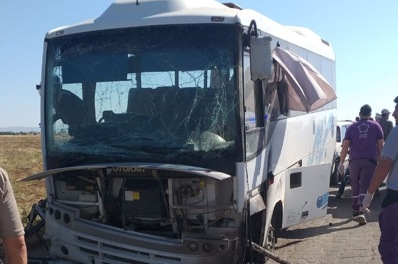 At least 16 police officers were injured in a terrorist attack that caused an explosion in a bus, Azaz, June 16, 2020.