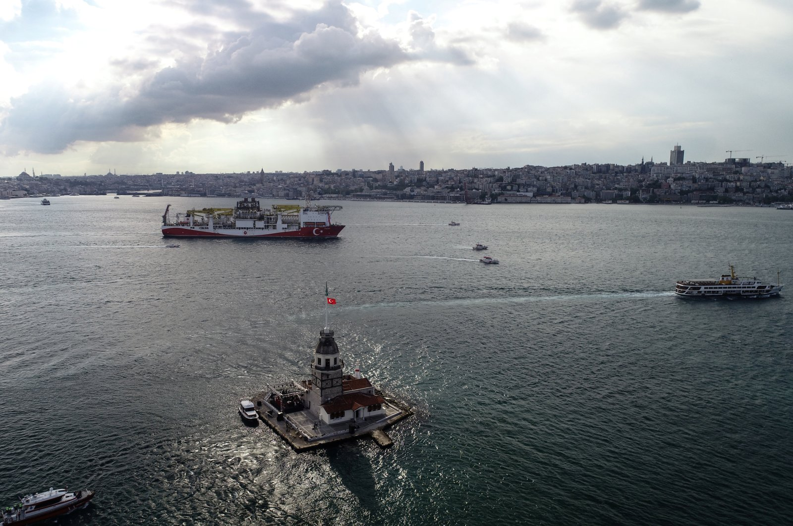 Turkey's drilling vessel, Fatih, sails through the Bosporus as it leaves for the Black Sea, Istanbul, Turkey, May 29, 2020. (Reuters Photo)