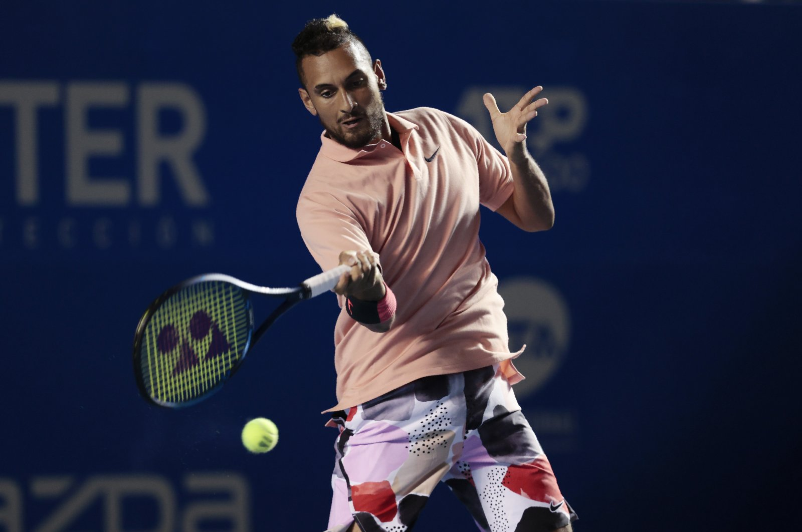 Australia's Nick Kyrgios during the Mexican Open tennis tournament in Acapulco, Mexico, Feb. 25, 2020. (AP Photo)