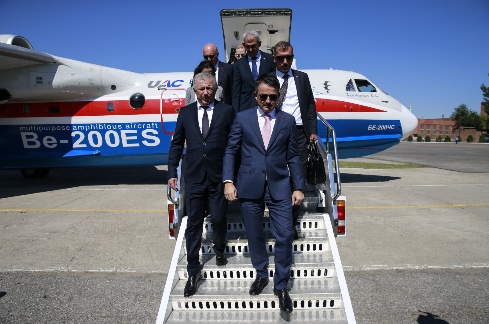 Agriculture and Forestry Minister Bekir Pakdemirli disembarks a Be-200 plane in Taganrog, Russia in this undated photo. (AA Photo)
