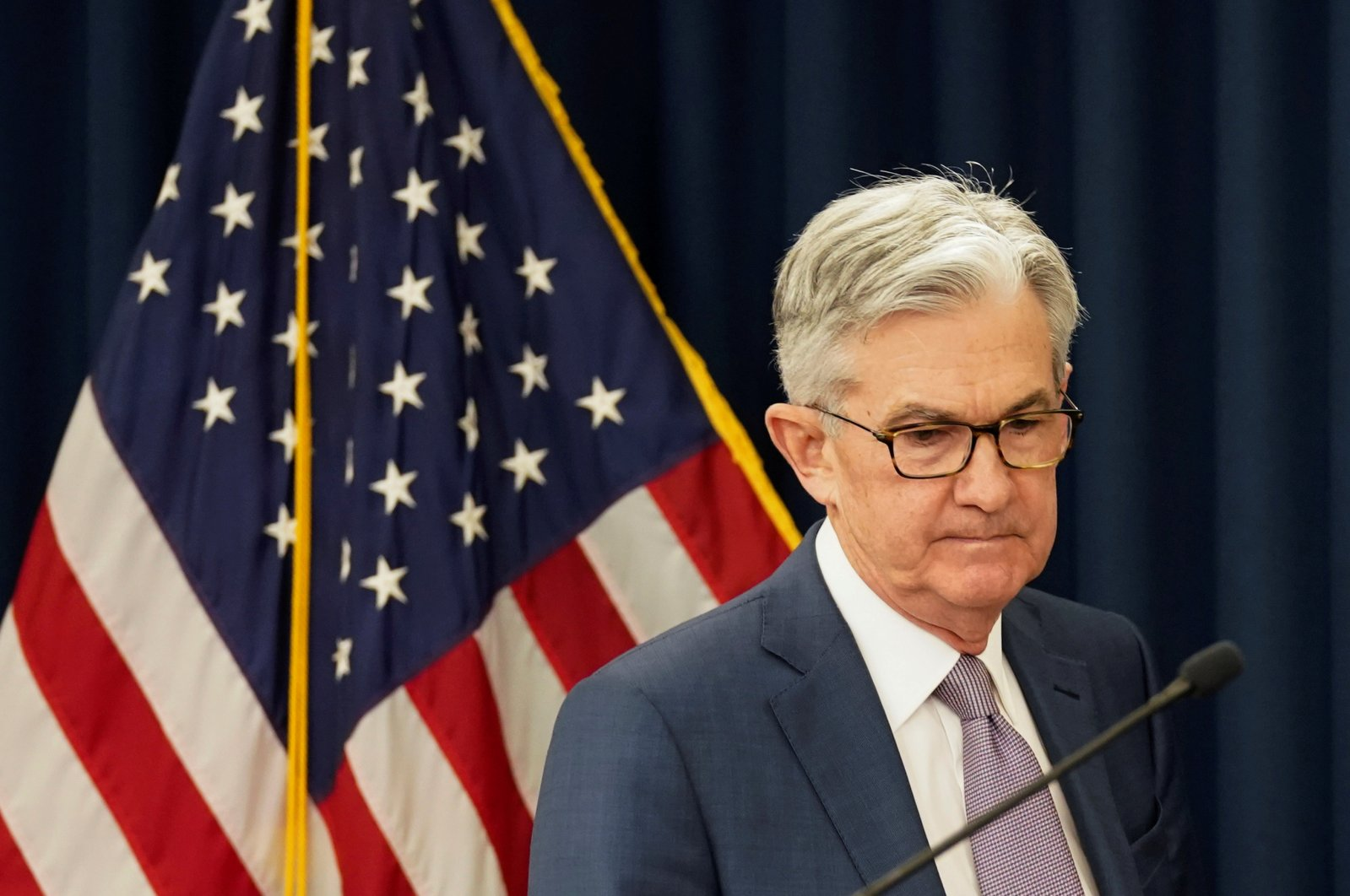 U.S. Federal Reserve Chairman Jerome Powellarrives to speak to reporters afterthe Federal Reserve cut interest rates in an emergency move designed to shield the world's largest economy from the impact of the coronavirus, in Washington, U.S., March 3, 2020. (Reuters Photo)