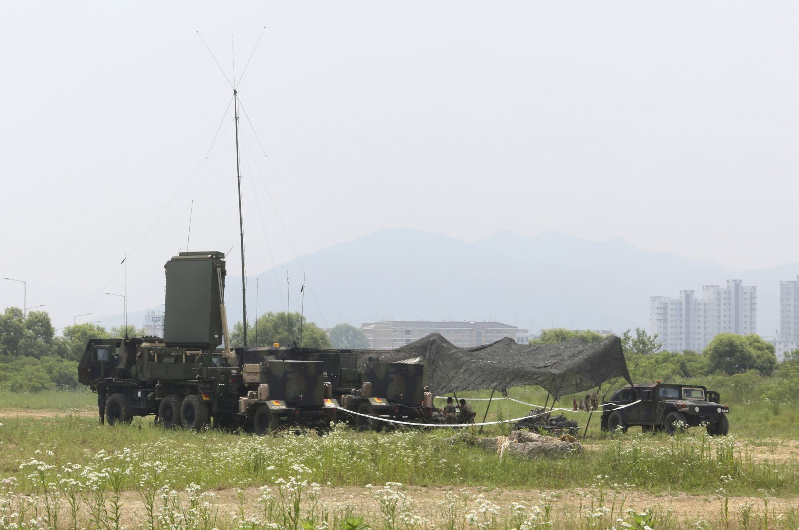 U.S. Army equipment is displayed in Yeoncheon, South Korea, near the border with North Korea, June 17, 2020.  (AP Photo)