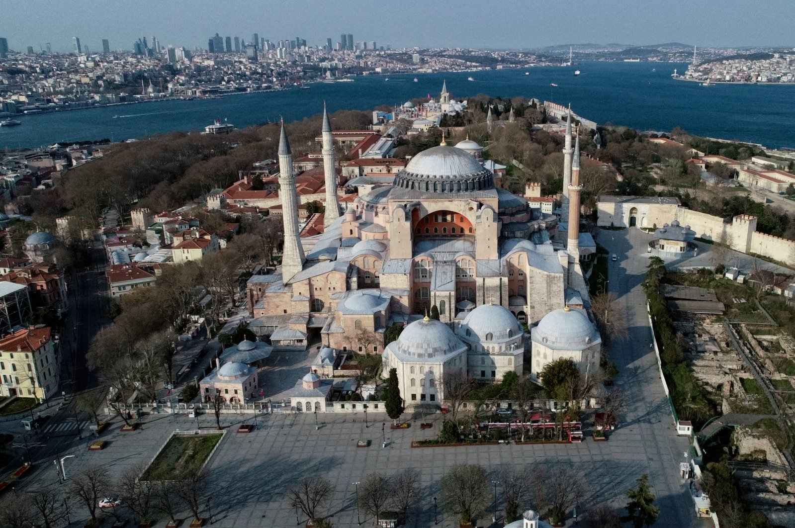 An aerial view of Hagia Sophia in Istanbul, Turkey, April 11, 2020. (REUTERS PHOTO)