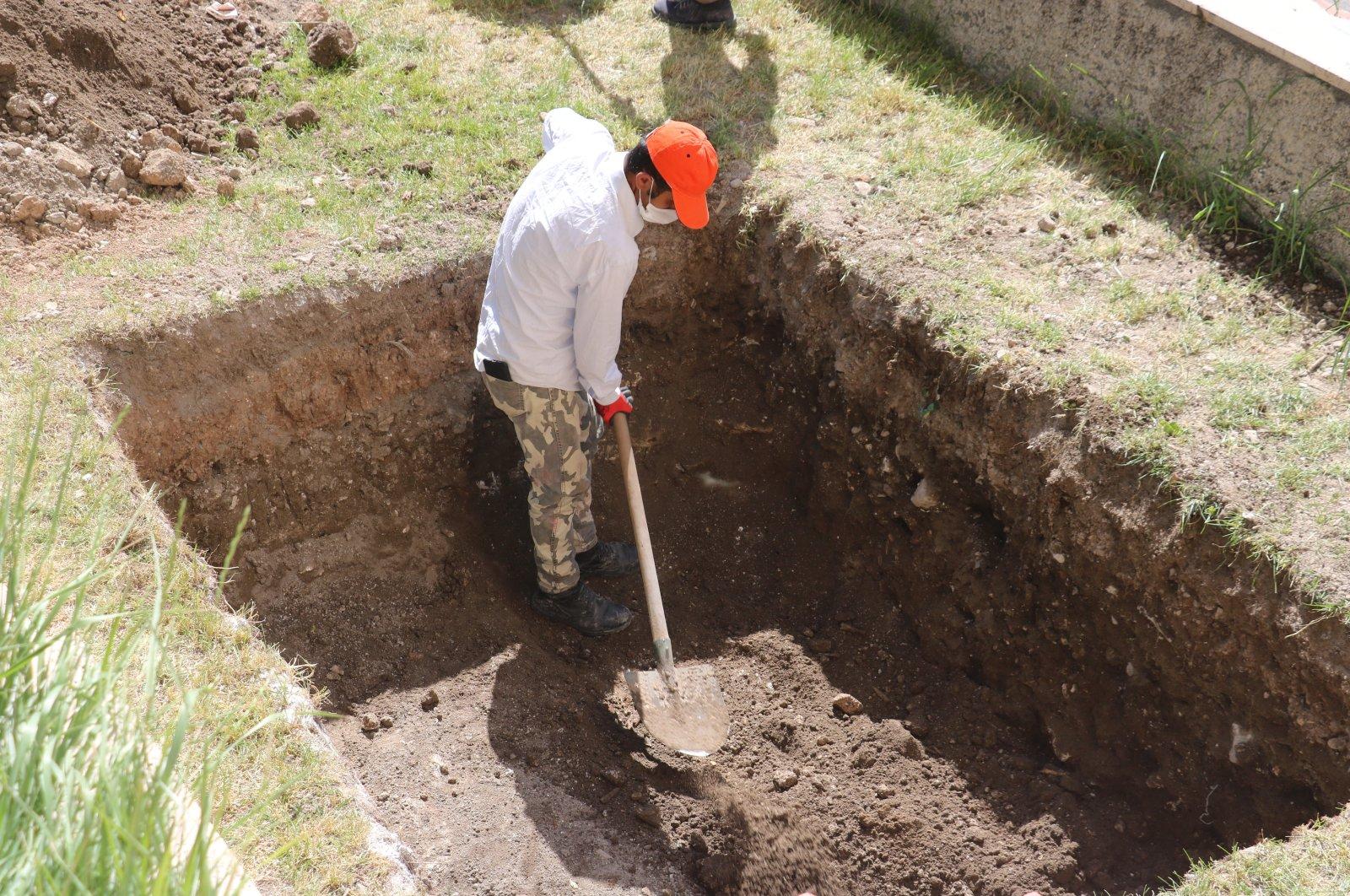 A worker digs in a presumed site of St. Vlas' grave, in Sivas, Turkey, June 17, 2020. (İHA Photo)