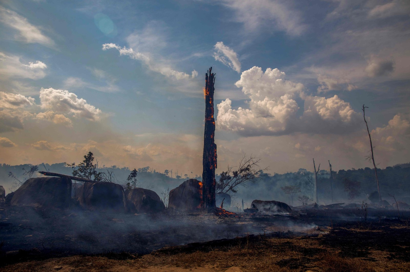 A burnt area of forest in the Amazon basin, Altamira, Para state, Brazil, Aug. 28, 2019. (AFP Photo)