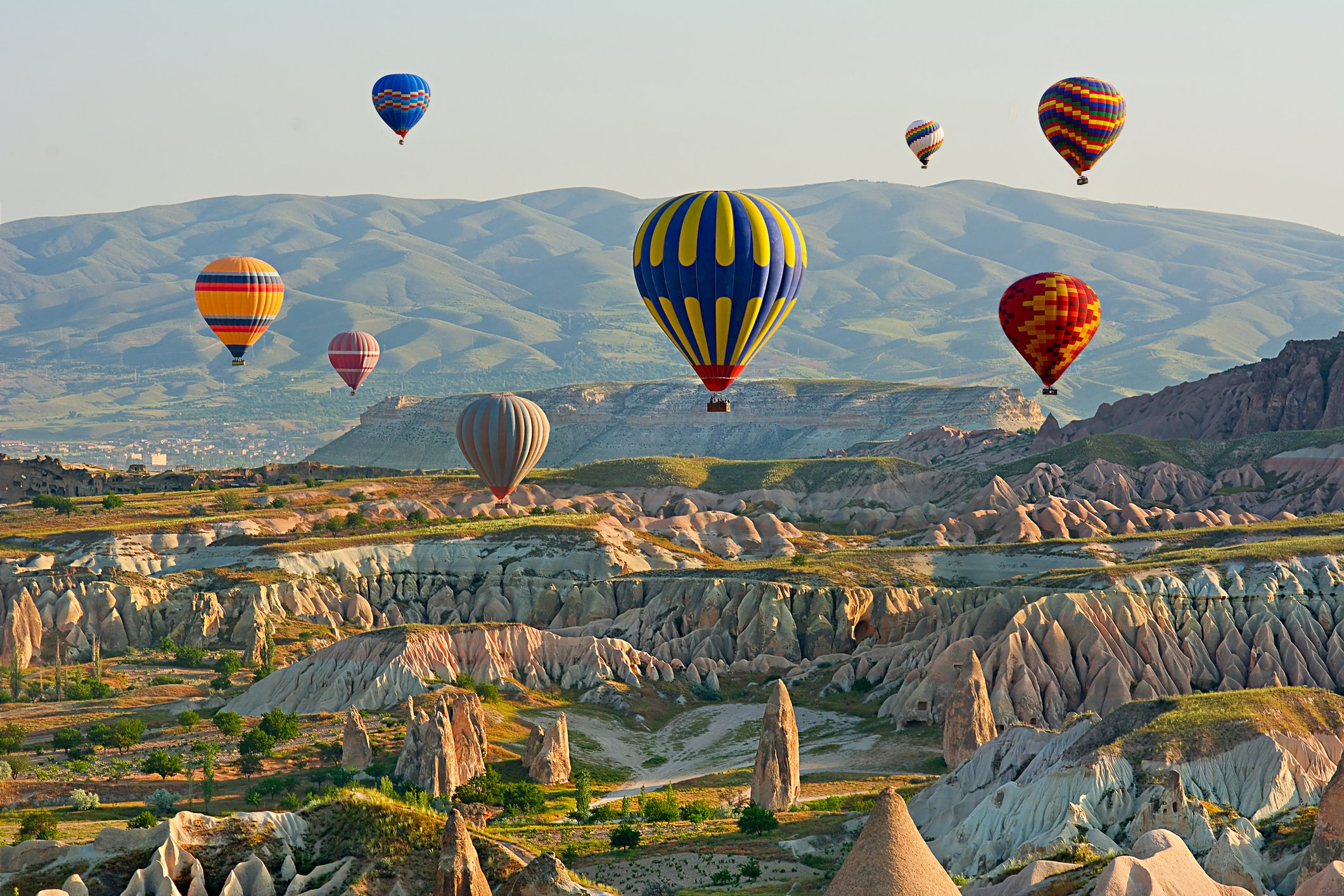 A hot air balloon ride will give you the opportunity to look at the fairy chimneys from a breathtaking angle. (iStock Photo)