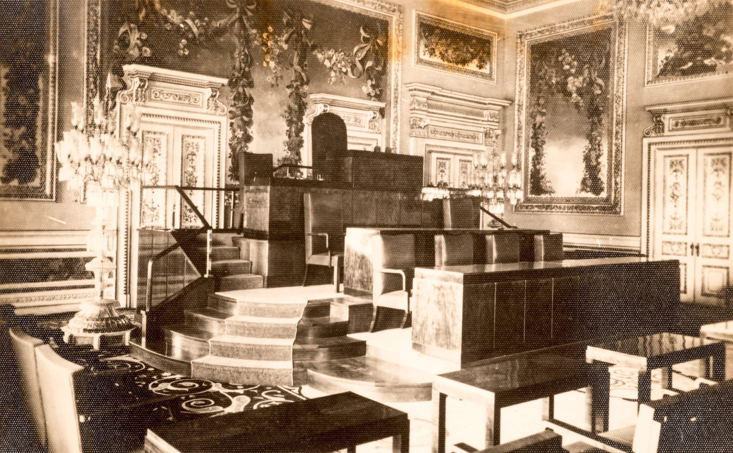 The furniture designed by Yenal for the Balkan Conference at the Yıldız Palace in 1931.