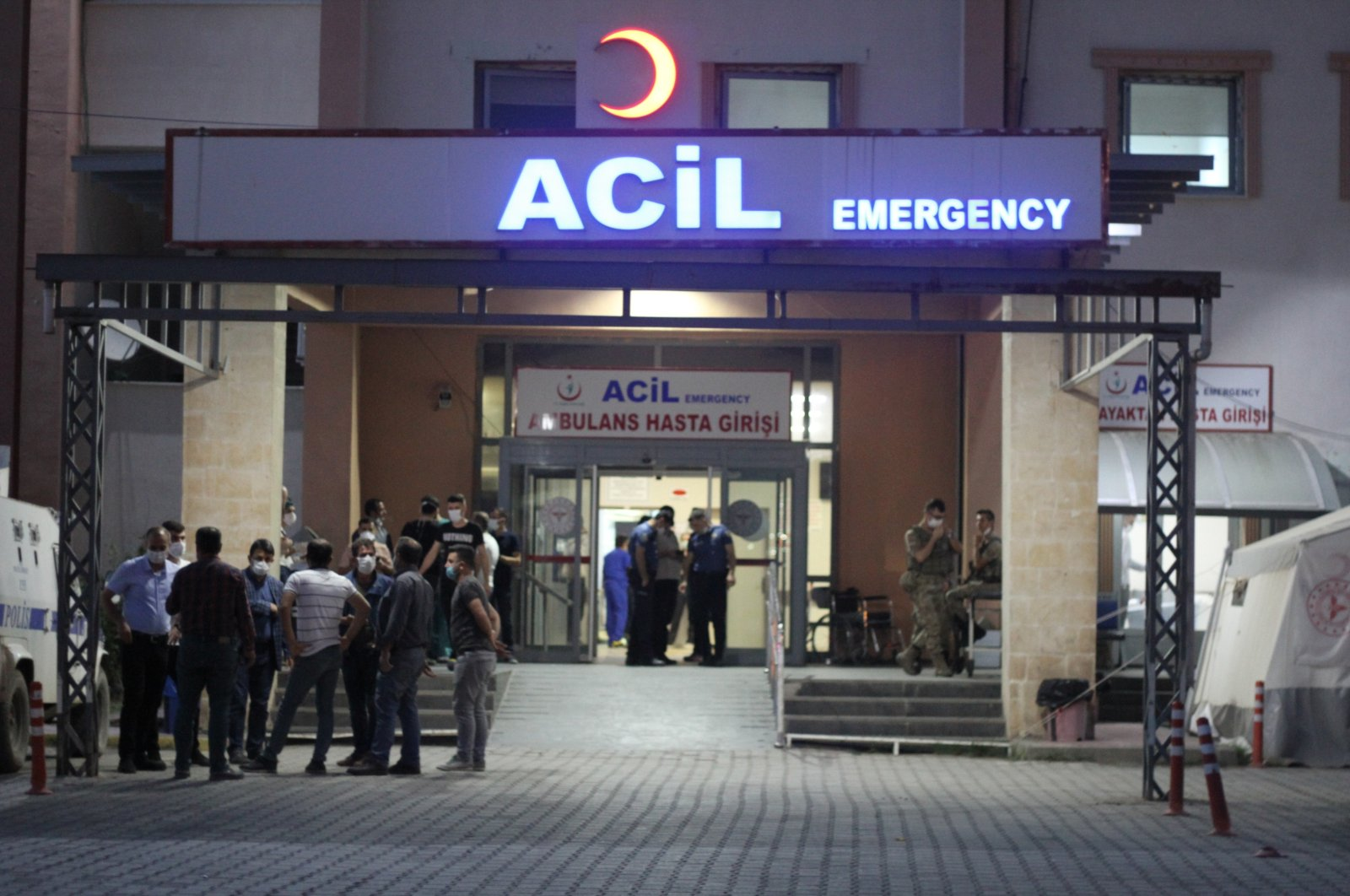 Workers brought to Şırnak State Hospital after PKK terrorists detonate a roadside bomb in the Silopi district on Wednesday, June 18, 2020 (DHA Photo)