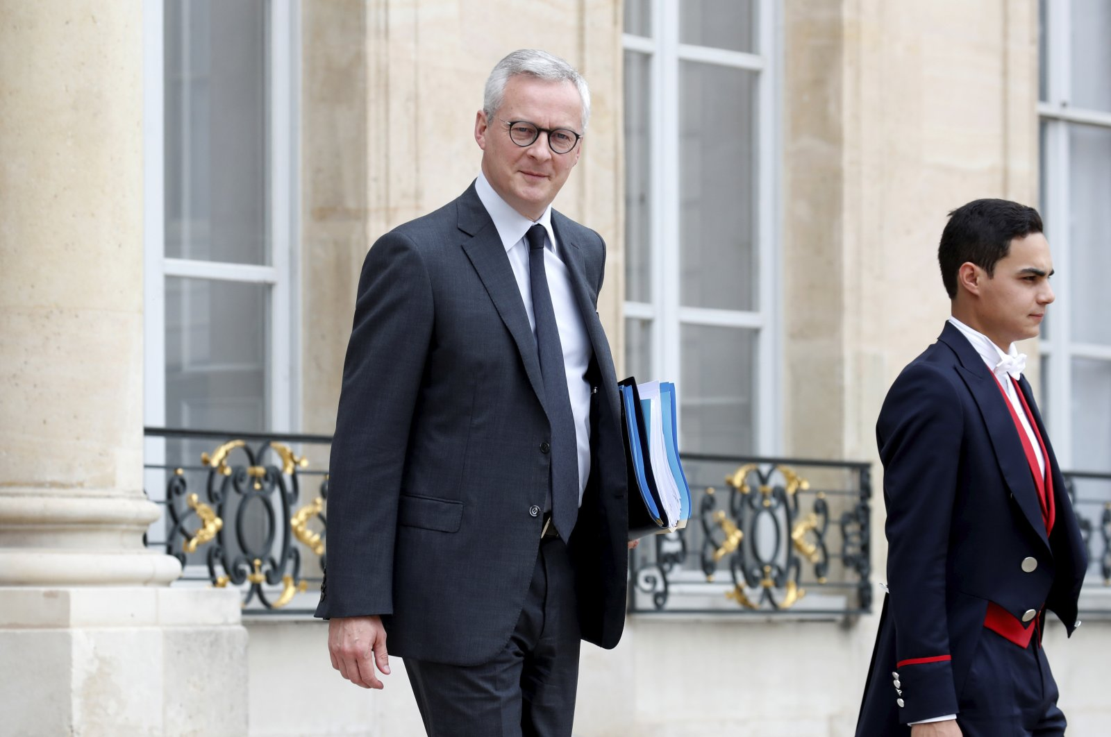 French Finance Minister Bruno Le Maire leaves following the weekly cabinet meeting at the Elysee Palace in Paris, France, June 17, 2020. (AP Photo)